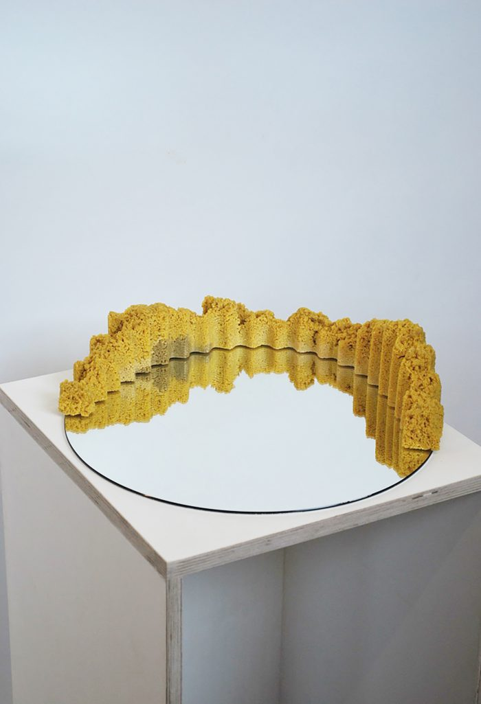 Circular mirror with mustard-coloured foam following the rim of the mirror on one side..