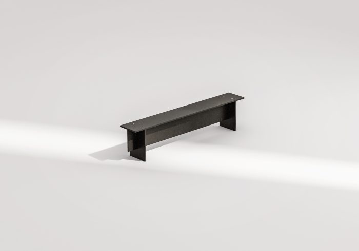 Clean, paired-back, black bench.